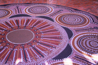 Colourful tile mosaic on the floor of the Centre for Aboriginal Studies lobby